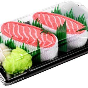 Caletines salmón Sushi Socks Box empaquetados como caja de sushi real