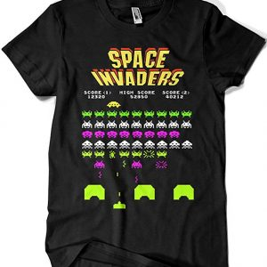 Camiseta videojuego retro Space Invaders game negra con dibujo flúor neón