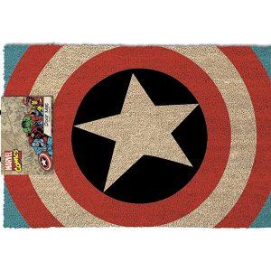 Felpudo de 40 cm x 60 cm Fabricado en PVC Diseño con el escudo del Capitán América