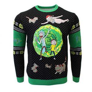 """Jersey para navidad tipo """"ugly christmas jumper"""" de Rick y Morty."""