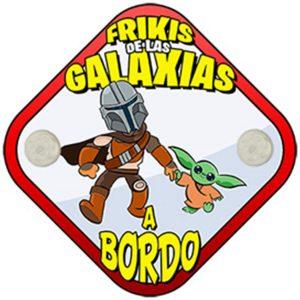 Pegatina para coche friki de Star Wars, Frikis de las Galaxias a Bordo. Mandalorian Baby Yoda