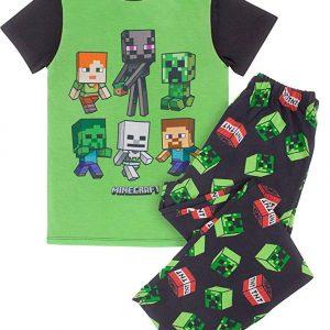 Dormir en el estilo con el pijama estos impresionantes de la enredadera de Minecraft TNT muchacho! Repleto de características de diseño impresionante, estos pijamas están seguros de mantener a los más pequeños feliz! Estos pijamas vienen en una combinación superior corto manga y pantalones. El diseño colorido en la parte delantera del pijama ve a los personajes de Steve, Alex, enredadera, zombi, Enderman y el esqueleto. La parte superior del pijama viene en un color verde intenso con la espalda, las mangas y el cuello, mientras que el pantalón de pijama ofrecen una cintura elástica y vienen en la enredadera que ofrece negro y TNT. El panel frontal impresa de la camiseta está hecha de 100% poliéster, mientras que las mangas, la espalda y los pantalones están hechos de 100% algodón para la comodidad. Para obtener el máximo rendimiento de este producto, por favor, siga instrucciones de la etiqueta cuidadosamente.