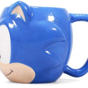 Taza Sonic the Hedgehog azul para café o desayuno friki
