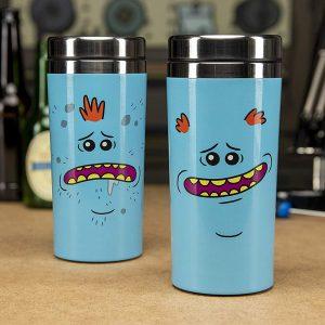 Taza friki de viaje de acero inoxidable con diseño de Mr Meeseeks de la serie de animación Rick y Morty.