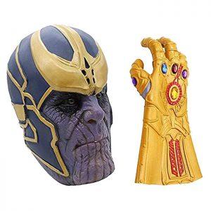 La máscara de Thanos Infinity War de Avengers Infinity Gauntlet Glove se diseñó especialmente. Los detalles intrincados y el magnífico diseño de línea en el casco y el guante dorado. El látex natural suave de alta calidad proporciona una posición cómoda. > Súper perfecto para Avengers Infinity War Disfraces, accesorios de Halloween cosplay, Fiestas, Festivales, Mardi Gras, Carnaval