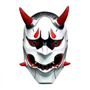 Máscara friki japonesa Harajuku de guerrero japonés Fantasma. Diablo japonés malvado espeluznante. Perfecta para disfraz, carnaval o Halloween.
