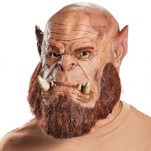 Máscara friki para gamers de Orgrim Doomhammer (Orgrim Martillo Maldito), personaje Orco de ficción de la saga de videojuegos World of Warcraft.