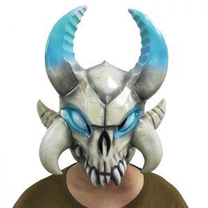 Máscara friki de látex del personaje legendario Ragnarok del videojuego Fortnite, perfecta para cualquier fiesta gamer, carnaval o Halloween.