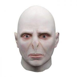 Máscara friki muy realista hecha de látex de Voldemort de la película Harry Potter. Talla única para la cabeza de la mayoría de los adultos y niños.