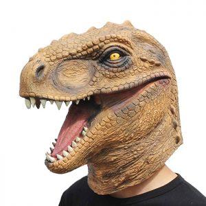 Máscara de látex con cabeza de Dinosaurio Rex. Lo suficientemente amplia para adaptarse a cualquier niño o adulto. Perfecta para fiestas, carnaval o Halloween.