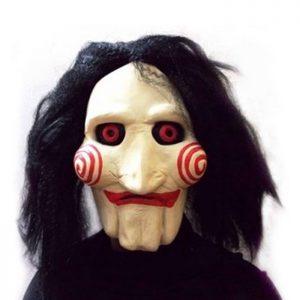 Máscara SAW JIGSAW con pelo sintético - Perfecto para carnaval y Halloween. Perfecta para fiestas de carnaval y fiestas temáticas
