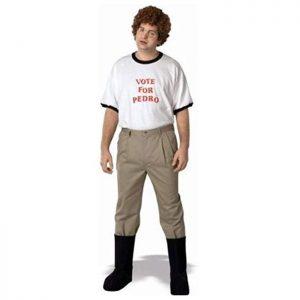 """Kit de Disfraz friki completo para adultos de la película Napoleon Dynamite con la camiseta """"Vote for Pedro"""" Vota a Pedro."""