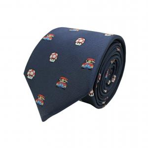 Accesorio friki de corbata retro gamerde Mario Bros y Seta, realizada en Seda natural en color azul marino con motivos de Mario Bros animado de pixels y setas