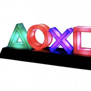 Accesorio y decoración friki. Lámpara gamer con iconos de PlayStation multicolor.