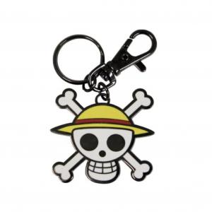 Llavero detallado de metal de calavera Luffy de la serie de piratas anime y manga One Piece.