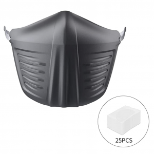 Mascarilla friki negra de silicona lavable con filtros para prevenir y protegerse ante el Coronavirus o Covid-19.