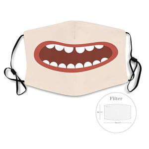 Mascarilla graciosa con boca de cómic / anime y filtros incluidos para prevenir y protegerse ante el Coronavirus o Covid-19.