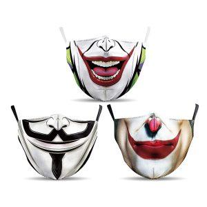 Pack de 3 mascarillas frikis de Joker y V de Vendetta estilo cómic con filtros incluidos para prevenir y protegerse ante el Coronavirus o Covid-19.
