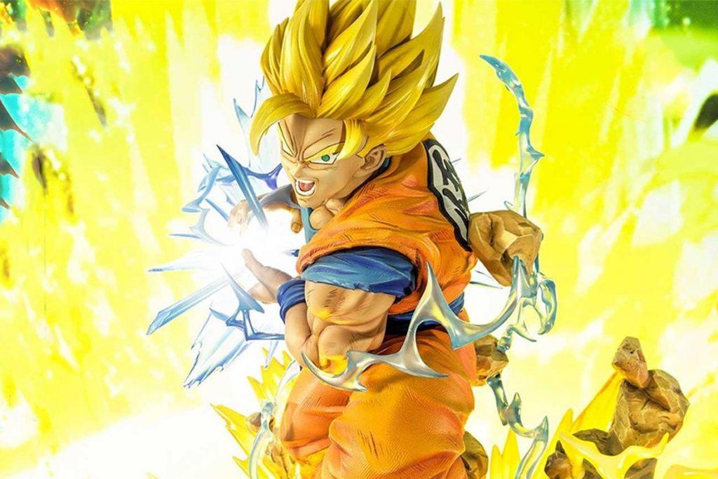 Espectacular muñeco de Goku transformable en tres formas de Súper Saiyan