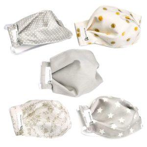 Pack de 5 mascarillas faciales de algodón, lavables y reutilizables para niños de varios colores hechas a mano en España para prevenir y protegerse ante el Coronavirus o Covid-19.