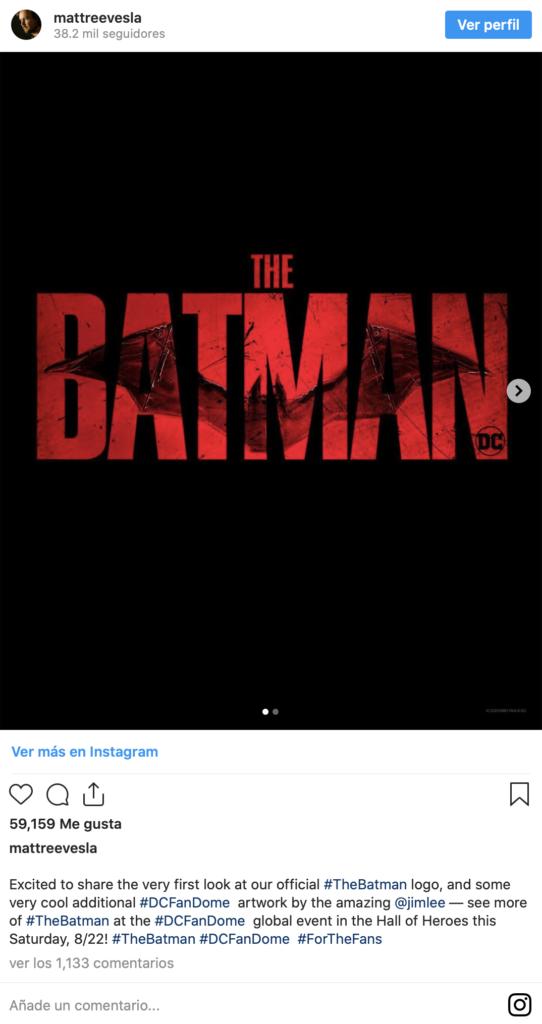 Publicación de Instagram donde el ilustrador Jim Lee nos desvela el nuevo logo oficial de la película The Batman